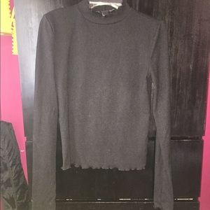 Black Ribbed Scalloped Mock Turtleneck Knot Top